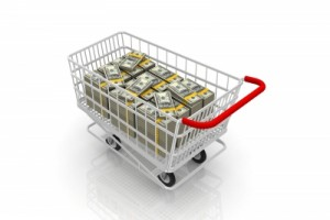 Shopping cart with dollars by renjith krishnan